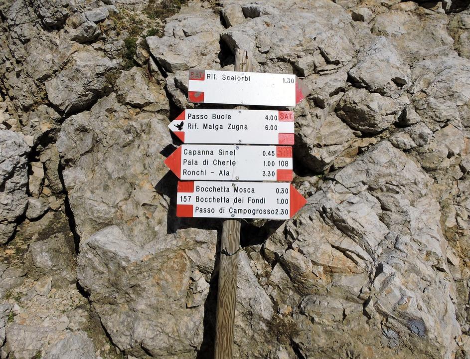 Signals, Signage, Hiking, Mountain, Scalorbi, Carega