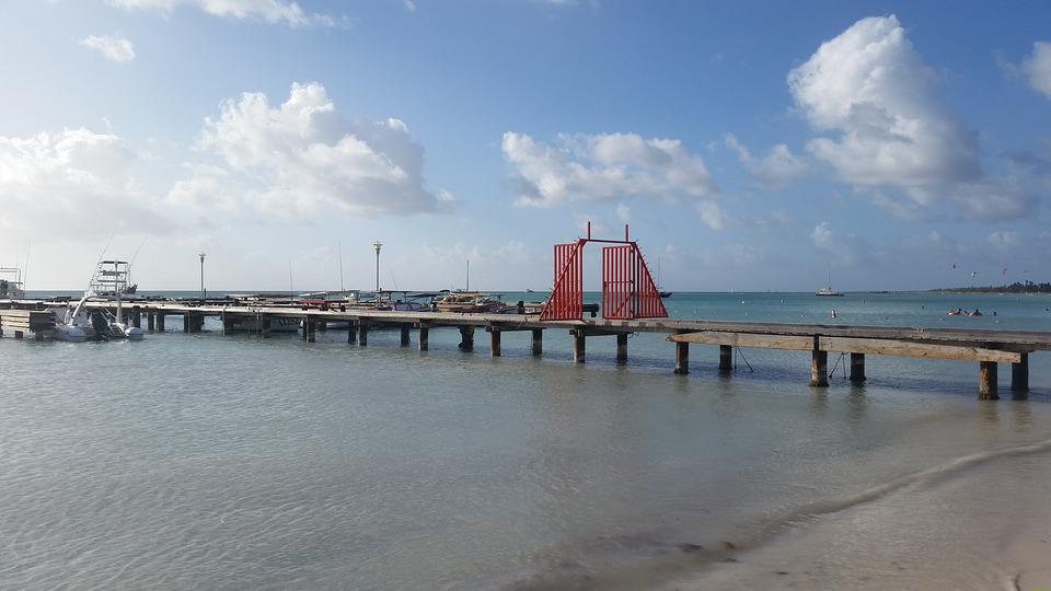 Aruba, Island, Caribbean, Beach, Pier, Sea, Horizon