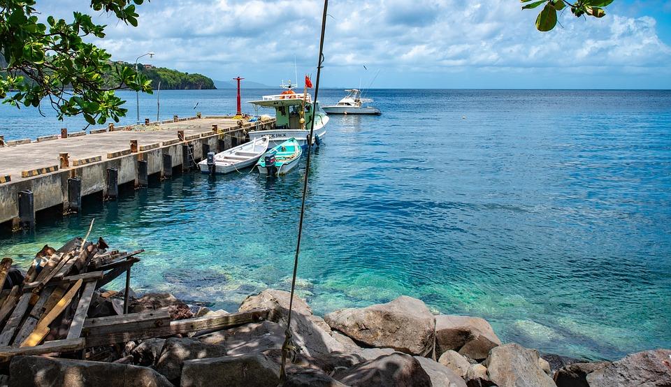 Pier, Caribbean Sea, Ocean, Blue Sea, Blue Water