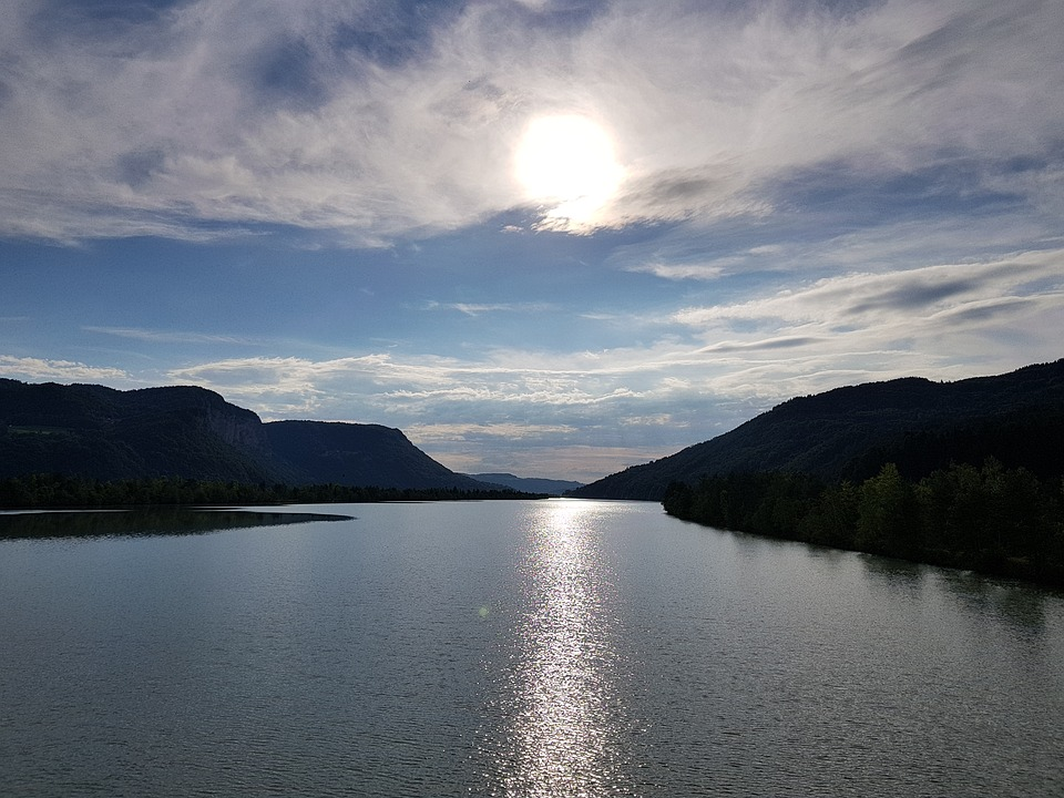 Drau, Sun, Carinthia, Austria, Reservoir, River, Clouds