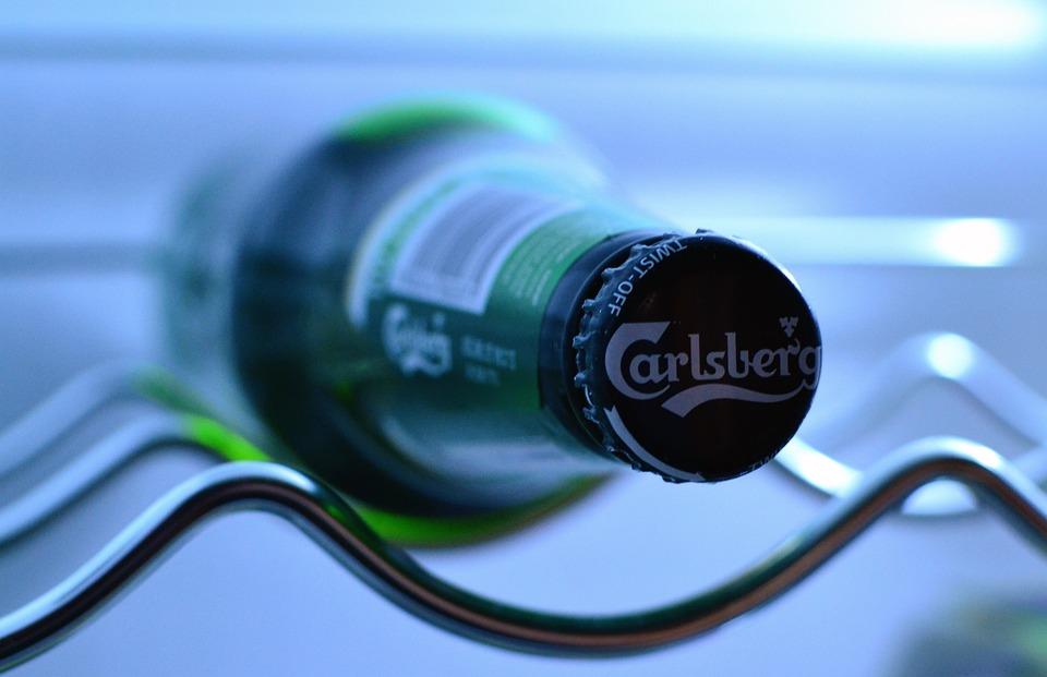 Beer Bottle, Carlsberg, Refridgerator, Fridge, Cool