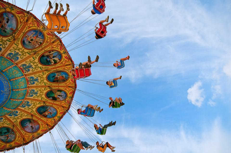 Fair, Ride, Carnival, Amusement Park, Swing, Blue Sky