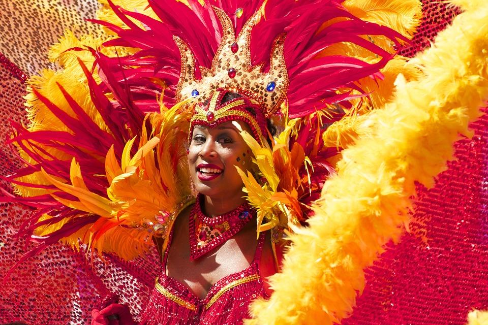 Carnival, Woman, Costume, Orange, Red, Cariwest