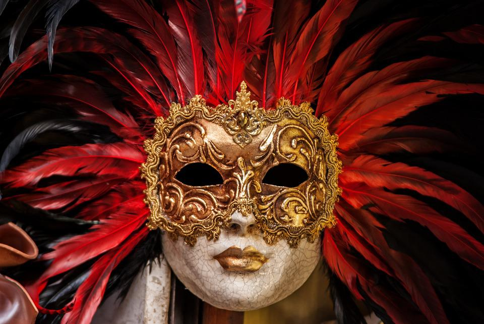 Eyes, Golden, Mask, Cracks, Feathers, Carnival