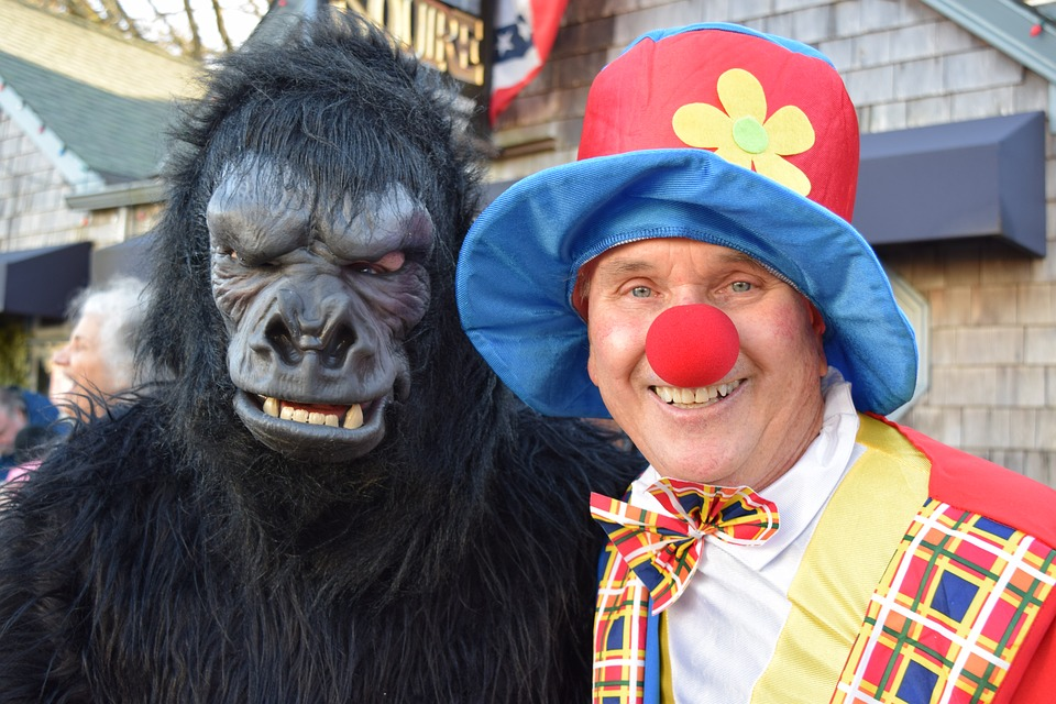 Clown, Gorilla, New Year's Eve, Costume, Carnival