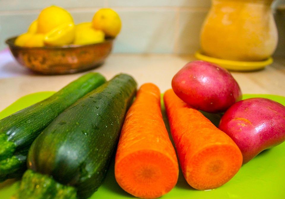 Vegetables, Zucchini, Carrots, Potatoes, Lemons, Salad