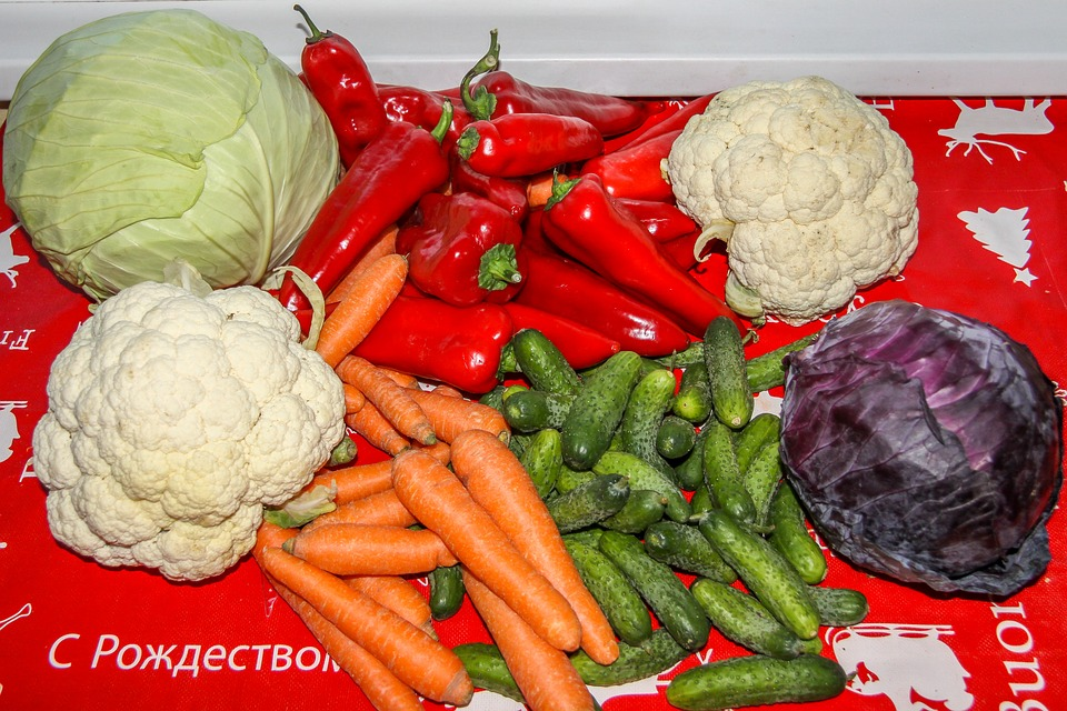 Vegetables, Carrots, Cucumbers, Cabbage, Peppers
