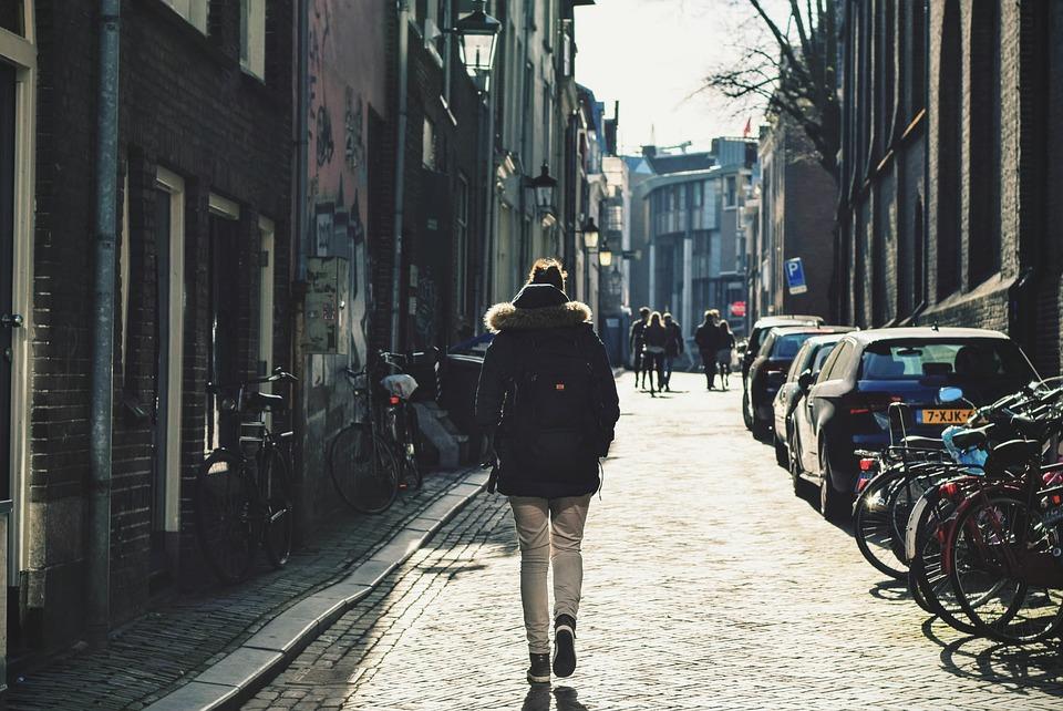 Alley, Bicycles, Bikes, Buildings, Cars, People, Street