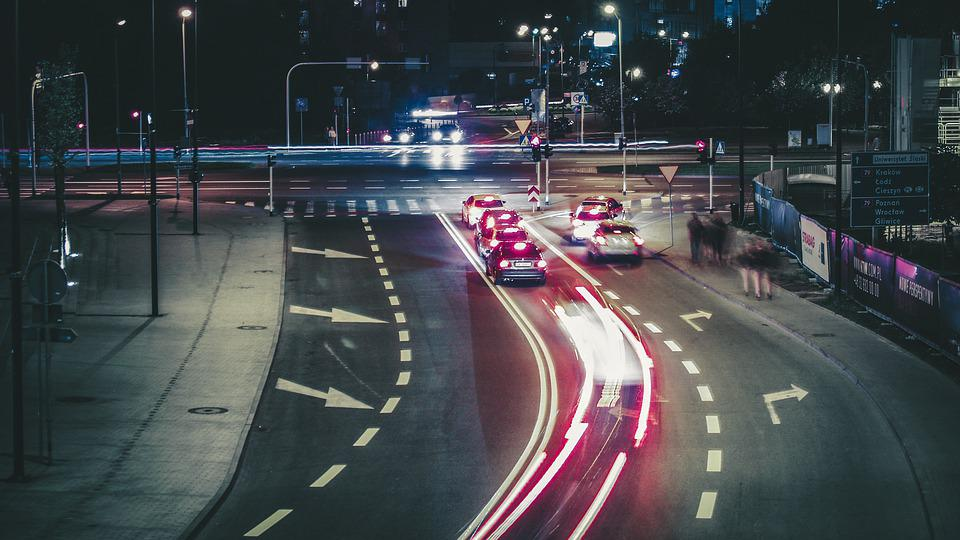 Way, Street, Traffic, Light, Cars, Auto, City, Night