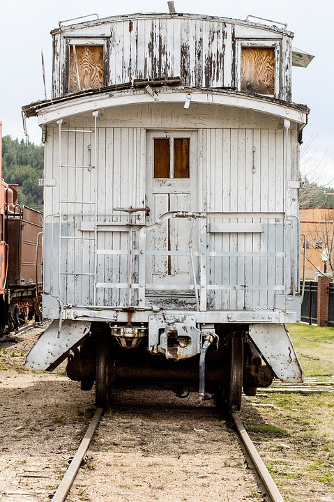Train, Caboose, Antique, Cars, Wooden, White, Windows