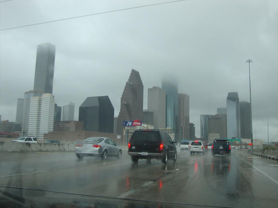 Skyline, Rain, City, Cars, Wet, Rainy, Drops Of Rain