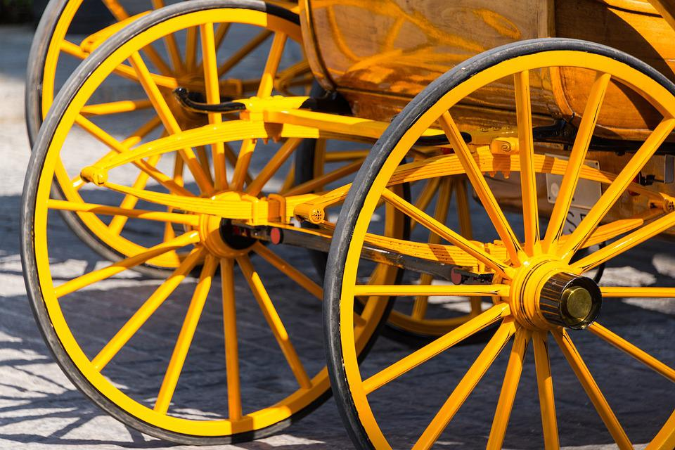 Carriage, Wheels, Yellow, Wheel, Cart, Transport, Old