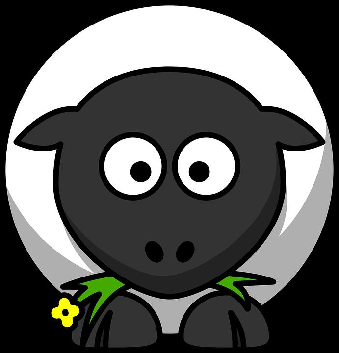 Sheep, Round, Cartoon, Face, Lamb, Eating, Farm, Animal
