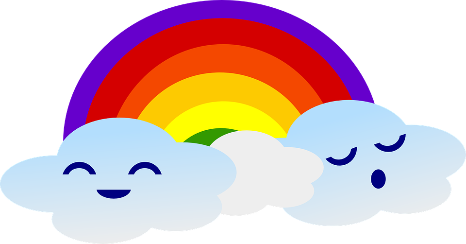 Rainbow, Clouds, Cute, Weather, Cartoon