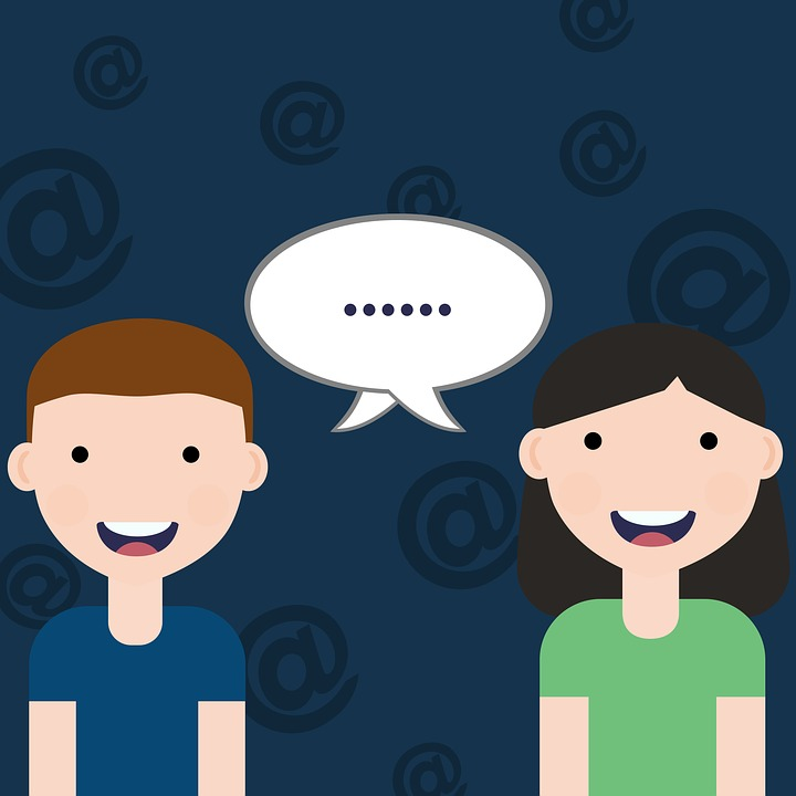 Man, Woman, Communication, At, White, Cartoon
