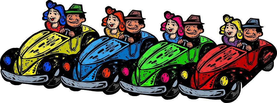 Cars, Traffic, Cartoon, People, Couple, Drive, Driving