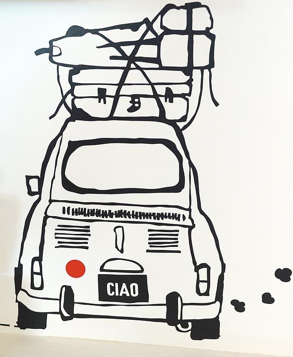 Cartoon, Fiat, 500, Travel, Trip, Luggage, Italian