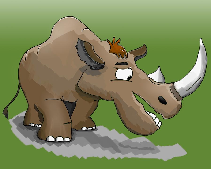 Rhino, Horn, Cartoon, Animal