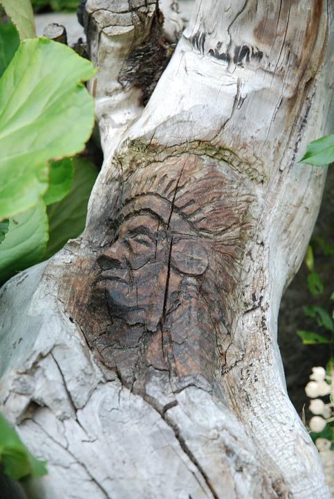 Tree, Nature, Wood, Indians, Head, Carved, Dry Wood