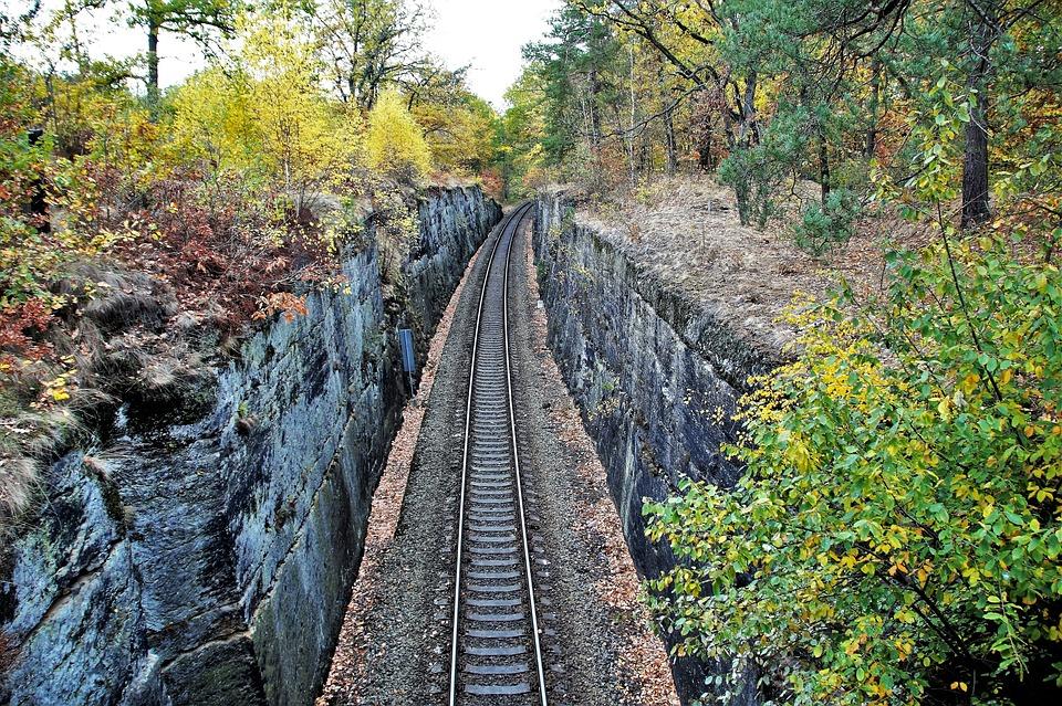 Track, Train, Railway, Autumn, Rock, Hole, Carved