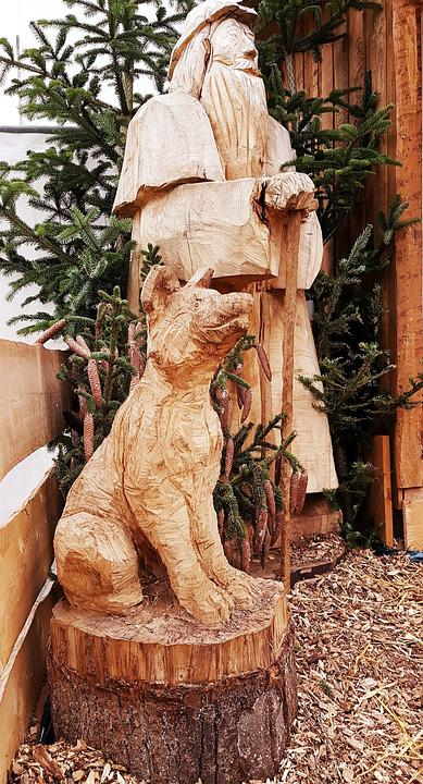 Shepherd, Dog, Sculpture, Chain Saw Work, Carved