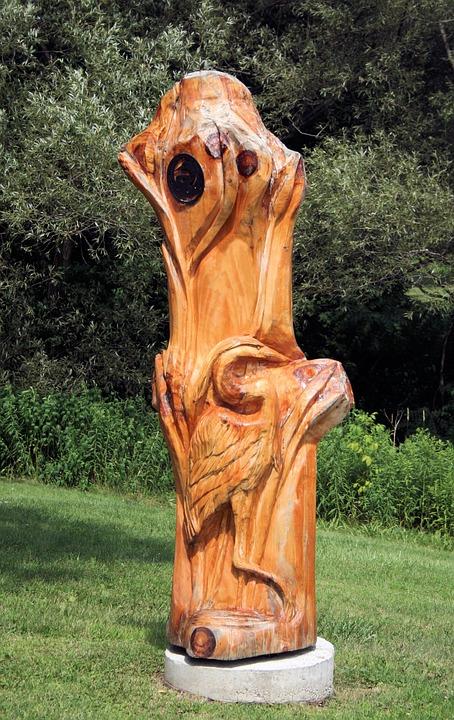 Carving, Wood Carving, Crane, Bird, Nature