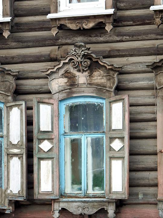 Window, Shutters, Carving, Frame, Trims, Old House