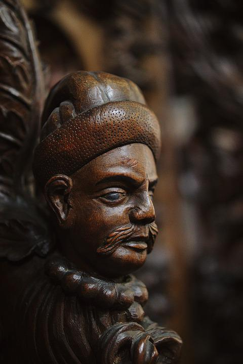 Figure, Choir Stalls, Church, Wood, Carving, Head