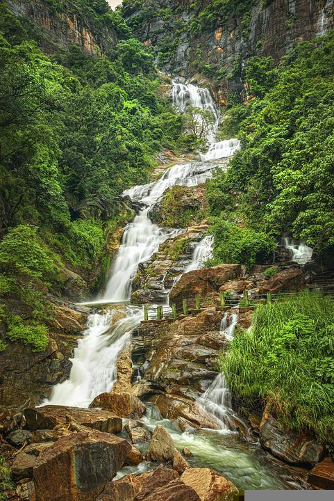 Waterfalls, Mountains, Flowing Water, Cascade, Trees