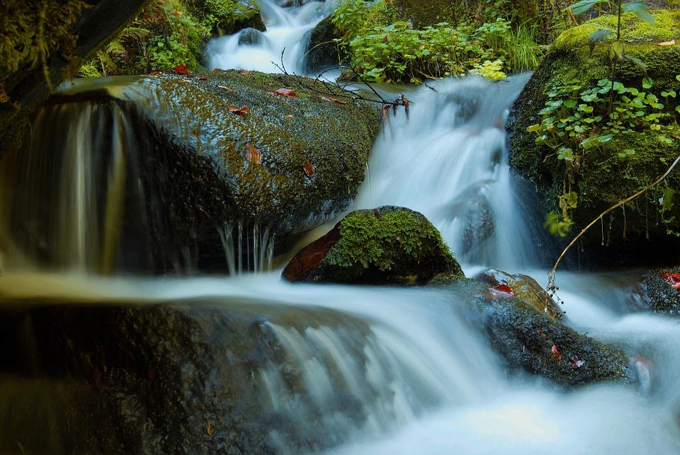 Waterfall, Cascade, Flowing Water, Autumn, Moss, Stones