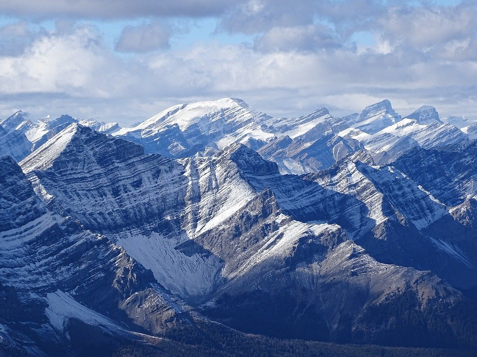 Rockies, Cascade Mountain, Rugged, Rocks, Alberta