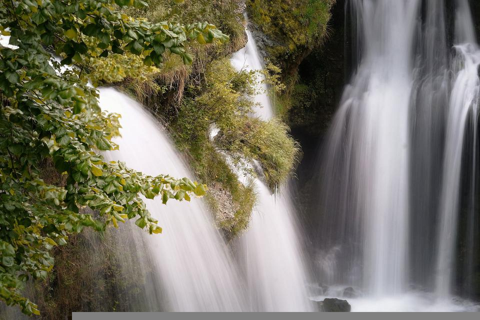 Waterfalls, Flowing Water, Mountains, Cascading, Leaves