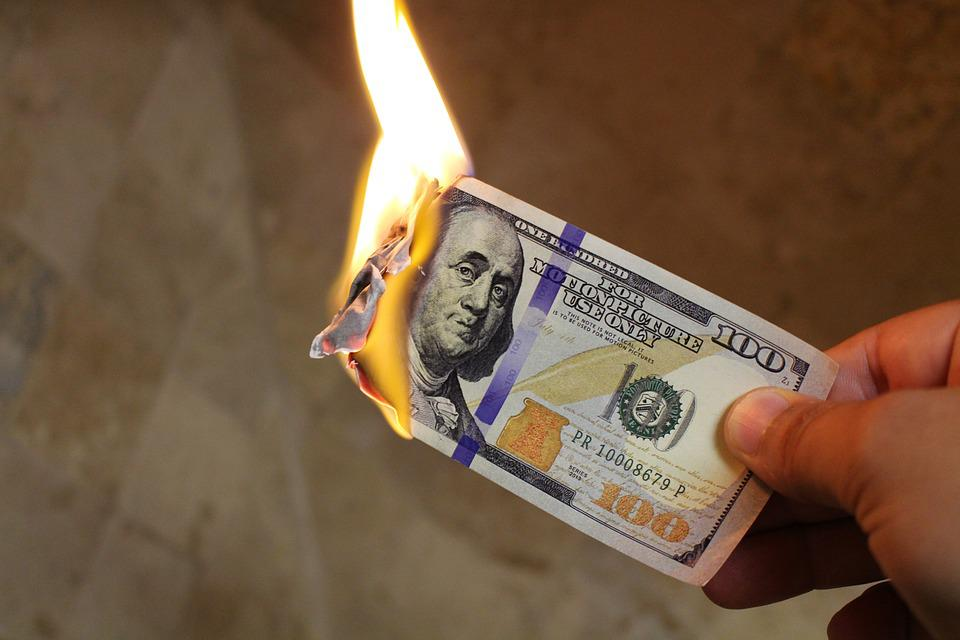 Burning Money, Dollars, Cash, Flame, Money, 100