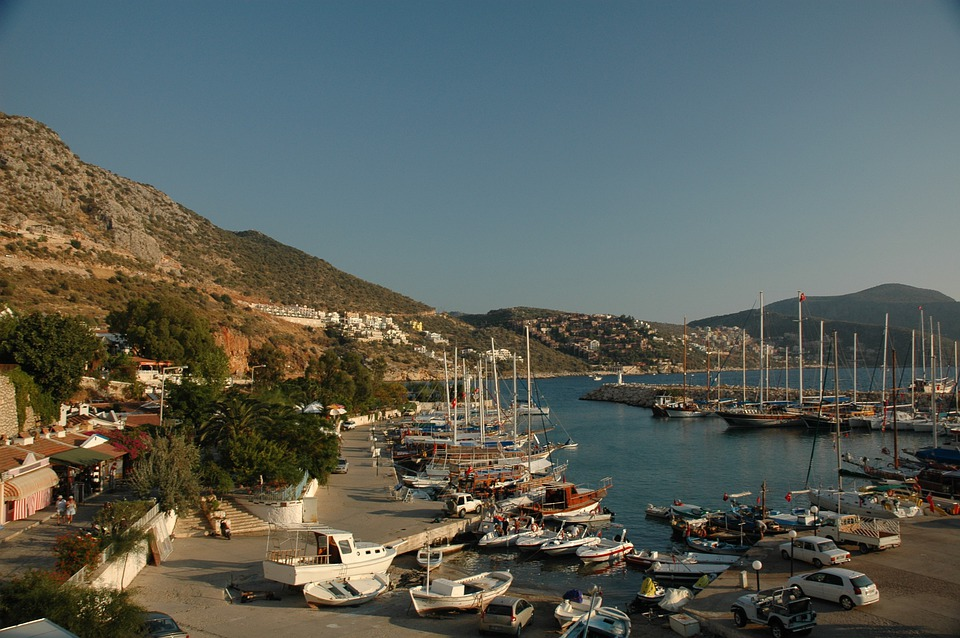Turkey, Cash, Port, Yacht, Boat, Palms, Quay, Terrace