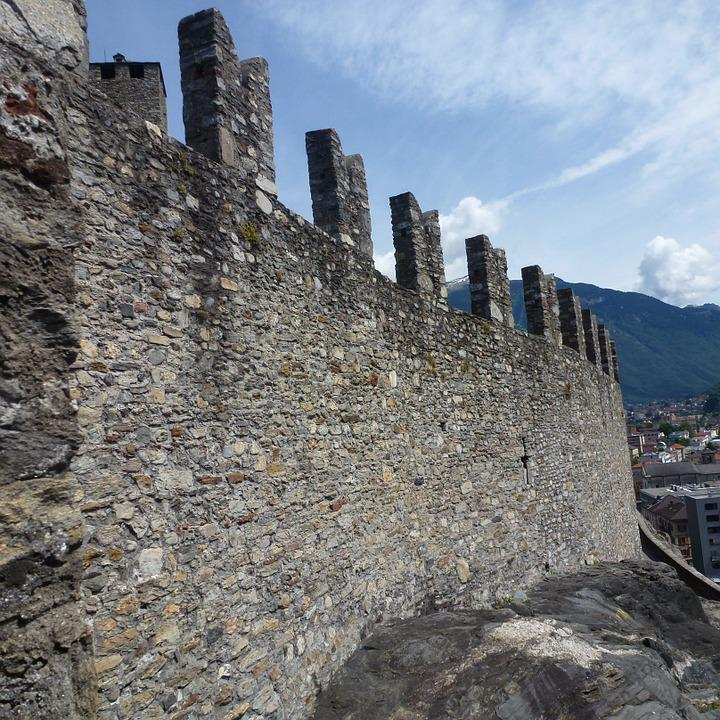 Battlements, Wall, Stone Wall, Castelgrande, Bellinzona