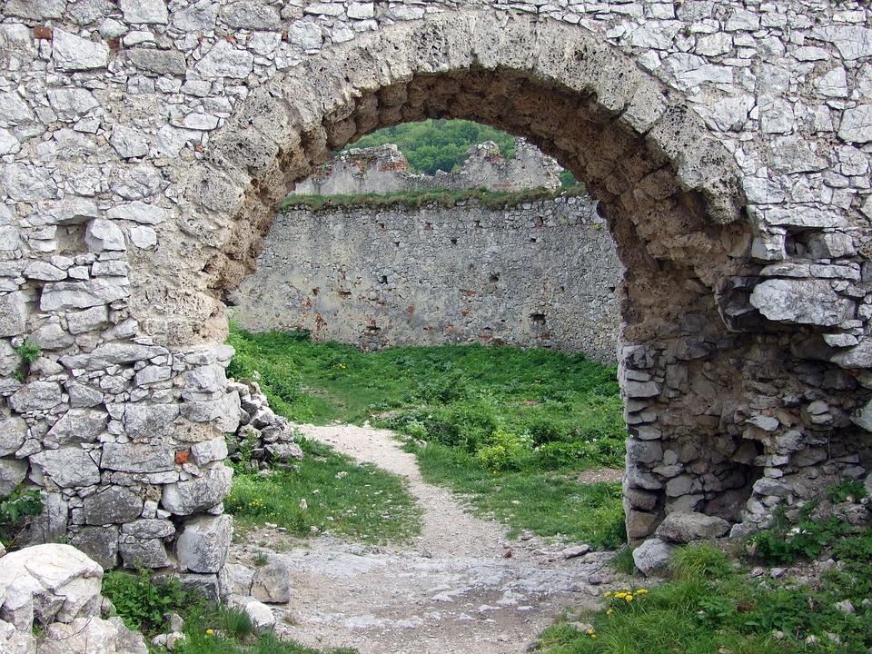 Slovakia, Wall, Ruins, Castle, Arch