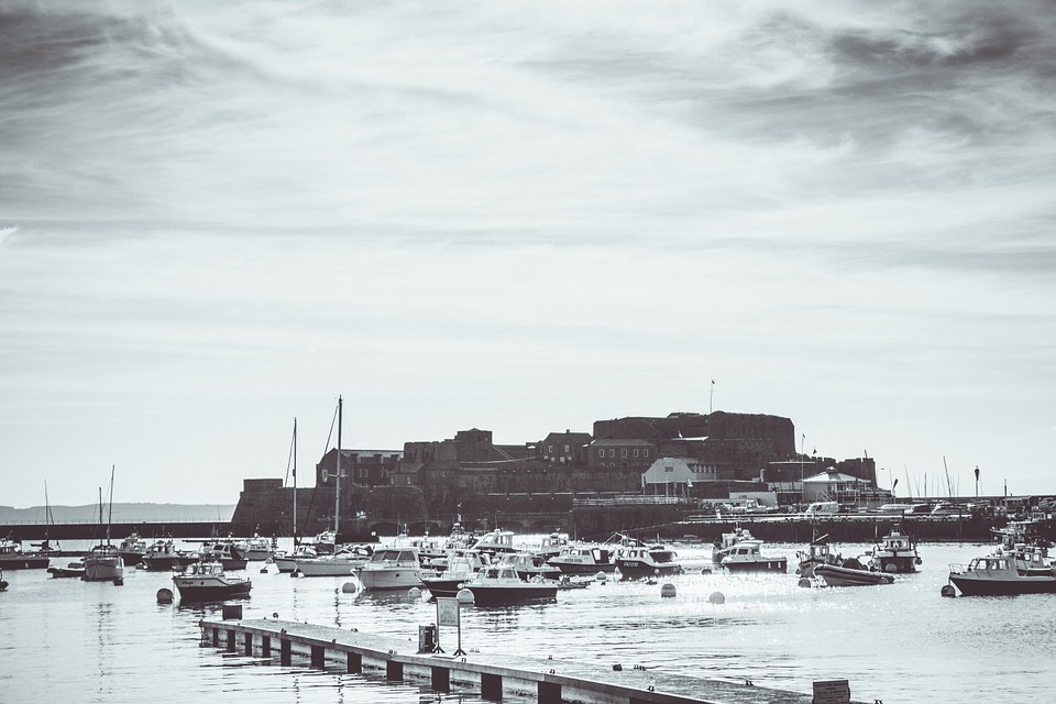 Castle, Guernsey, History, Black And White, Boats