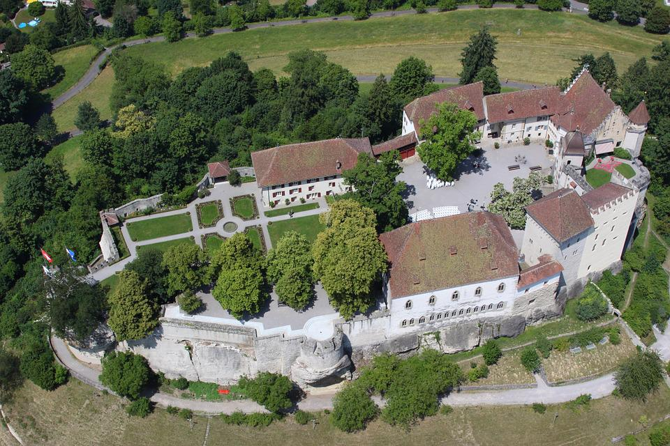 Lenzburg, Castle, Switzerland, Aerial, View, Europe