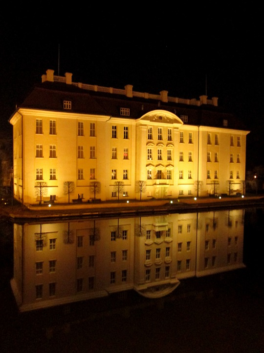 Castle, Köpenick, Golden Yellow, Water Reflection
