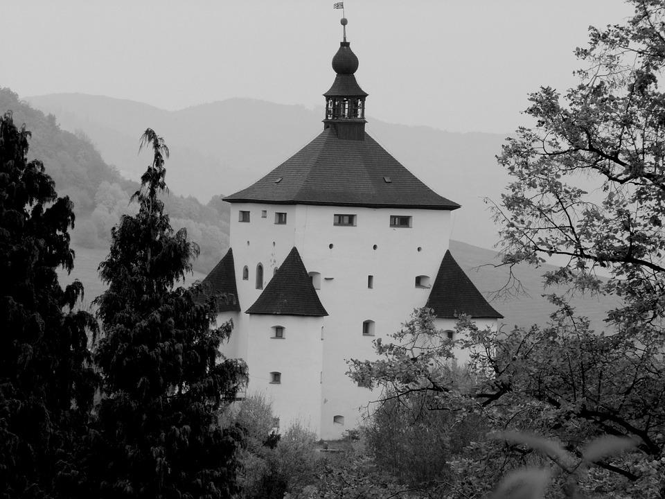 Castle, Tree, Hill, Landscape, B W Photography