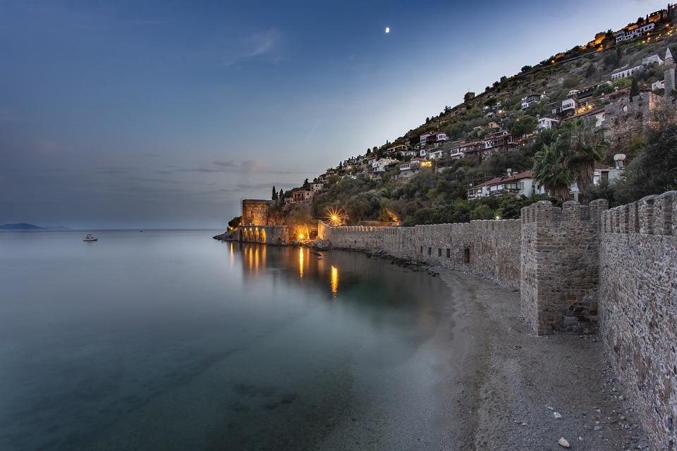 Alanya, Night, Kızılkule, Landscape, Castle, Antalya