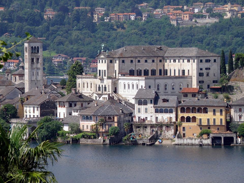 San Giulio, Italy, Island, Buildings, Palace, Castle
