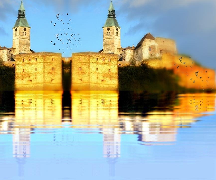 Reflection, Lake, Castle, Birds, Sky, Landscape, Nature