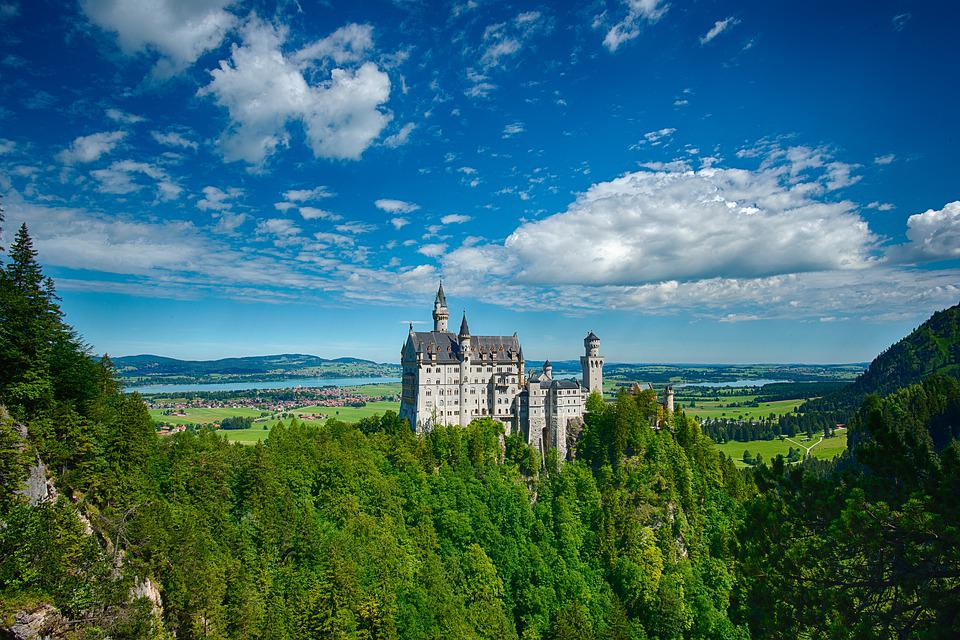 Neuschwanstein Castle, Castle, Hill, Trees, Woods, Sky