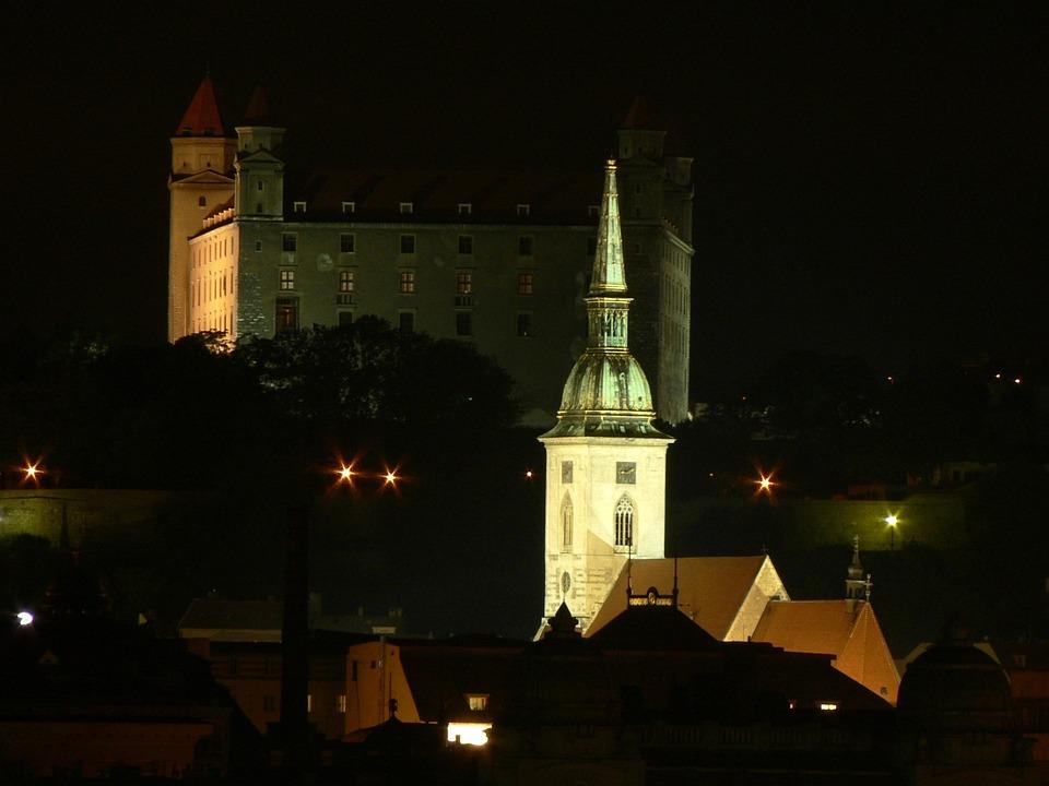 Slovakia, Bratislava, Night, City, Castle, Tower