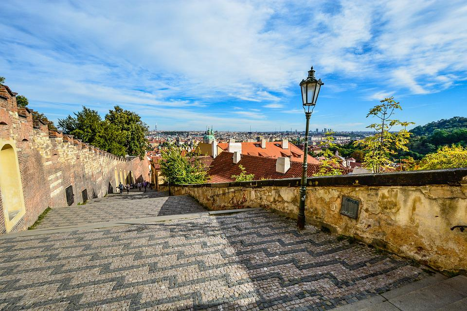 Prague, Staircase, Stairs, View, Skyline, Castle, Steps
