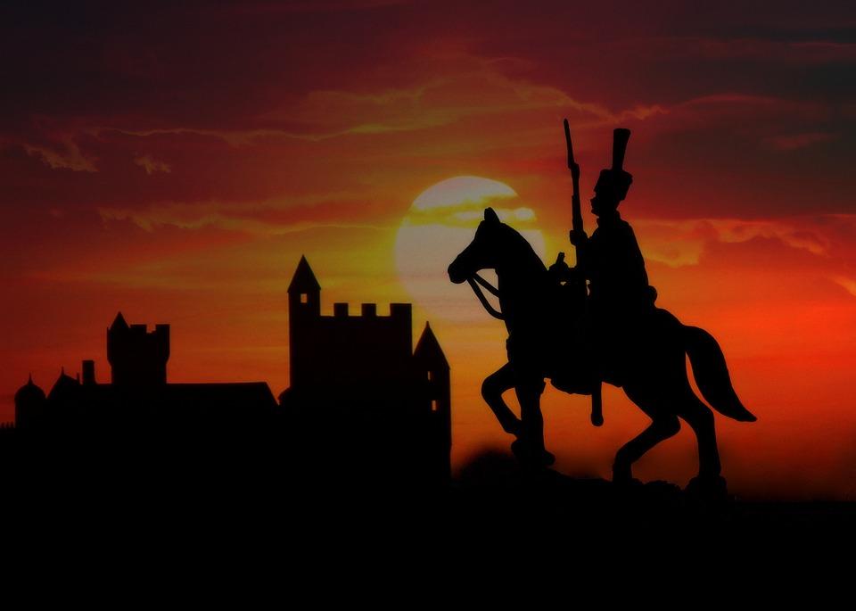 Soldier, Horse, Castle, Silhouette, Sunset, Sky, Cloud