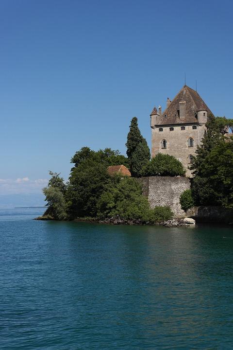 Castle, Lake, Yvoire, Haute-savoie, France, Water