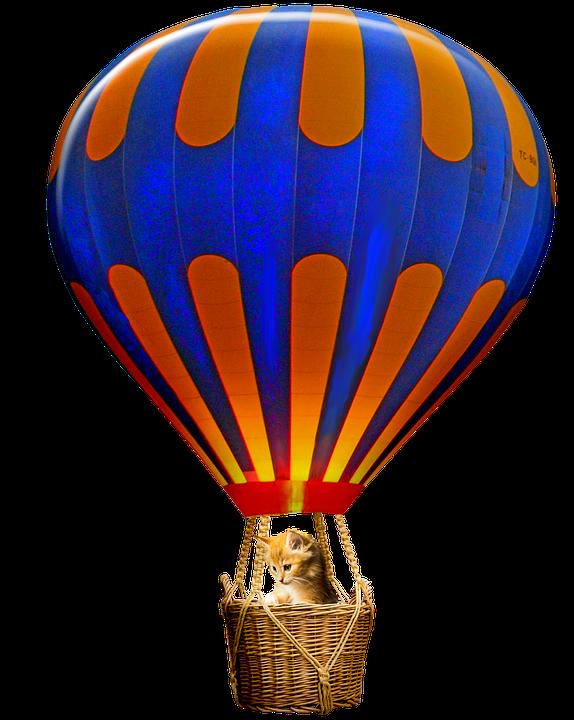 Hot Air Balloon, Cat, Basket, Balloon, Colorful, Flying