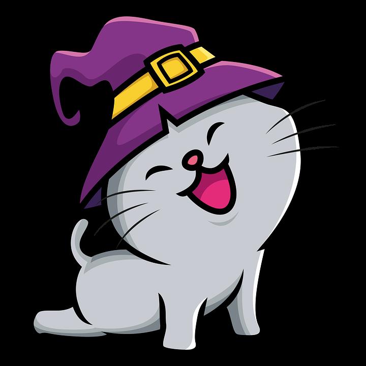 Halloween, Cat, Witch Hat, Icon, Cartoon Cat, Cat Icon